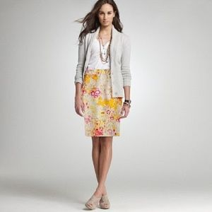 J.Crew Yellow & Pink Sunshine Peony Pencil Skirt